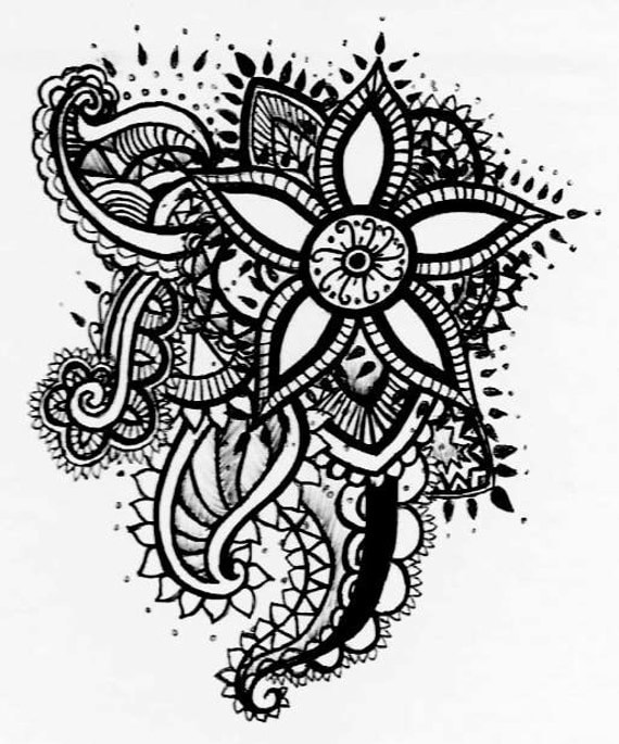 Easy Zentangle Flowers Temporary Tattoo Henna Style Floral