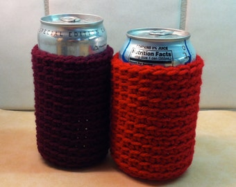 Crochet Beer & Soda Cozy in Red, Burgundy,  More Colors Available