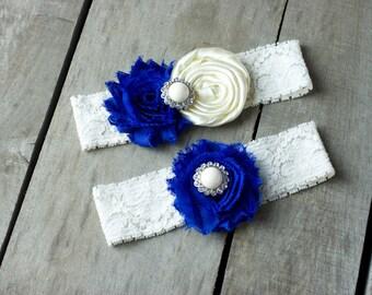 Sapphire Blue and Ivory Wedding Garter, Shabby Chic Garter