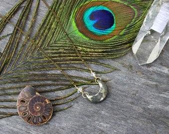 Pyrite moon raw crystal quartz brass necklace / long bohemian festival style necklace / handmade jewelry