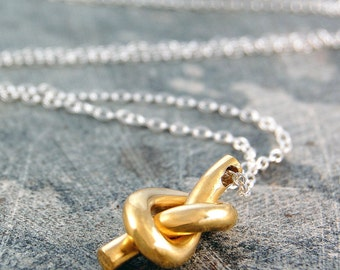 Gold Knot Necklace - Pendant Necklace - Gold Pendant - Twist Necklace - Nautical Necklace - Friendship Knot - Silver and Gold, 925 Silver