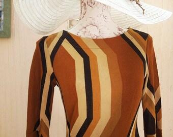 Vintage brown dress-vintage boho dress-70s party dress-mad men dress-geometric print vintage dress-vintage night dress-vintage party dress