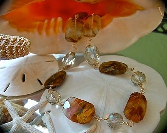 Golden Quartz and Glass Necklace