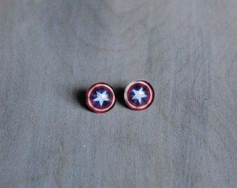 Captain America Stud Earrings 12mm