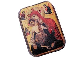 14x11cm wooden icon Theotokos, Our Lady, The Virgin and Child, Madonna  from Panagia Trikoukiotissa Monastery  in Cyprus.