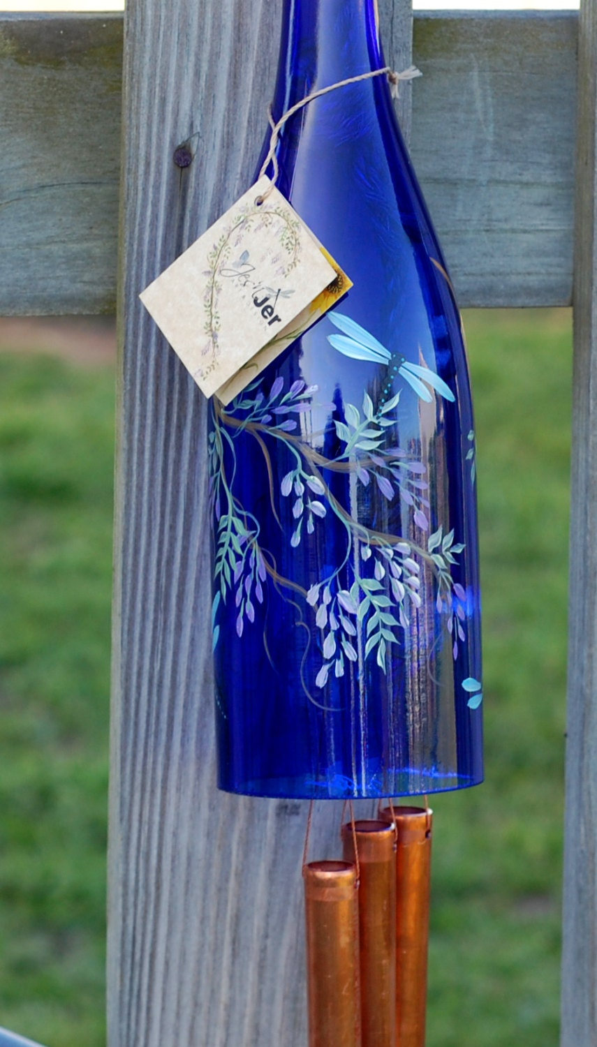 Recycled wine bottle wind chime purple wisteria with for Purple wine bottles for sale