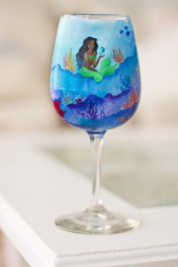 Mermaid Wine Glass Hand Painted Underwater Scene