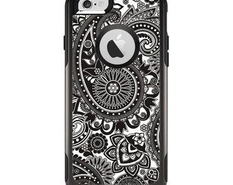 The Black & White Paisley Pattern V1 Apple iPhone 6 Otterbox Commuter Case Skin Set