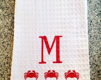 Monogram Waffle Weave Kitchen Towel with Crabs / Monogram Dish Towel / Host Gift
