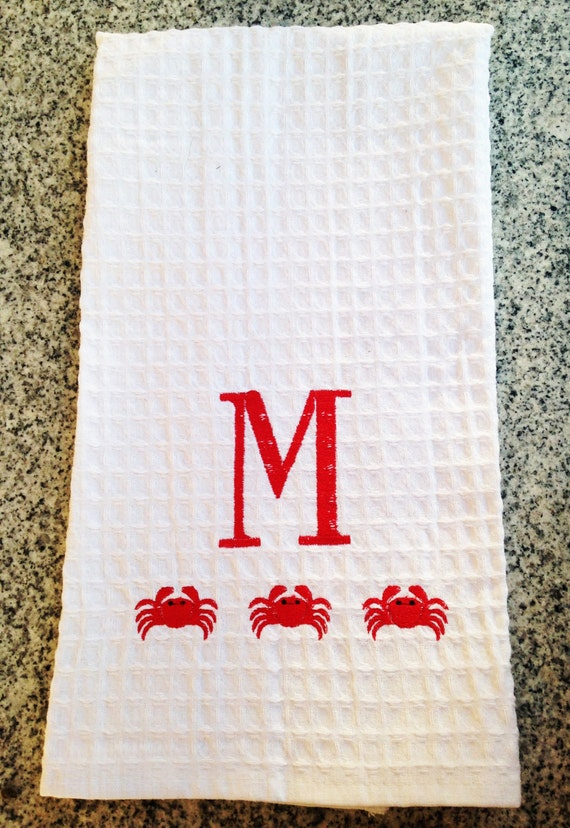 Monogram Waffle Weave Kitchen Towel With Crabs By
