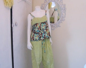 CLEARANCE Sale on OOAK 'Sweet Lady faces' Print Cotton Camisole and Bottoms Sleep set in sizes 1X