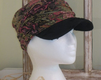 Ladies Ruched Hat in all over multi-coloured Paisley print with Black Distressed Fabric Brim