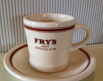 Vintage Fry's Hot Chocolate Cup and Saucer Set