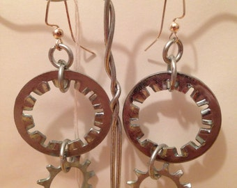 Medium Metal Lock Washer Earrings