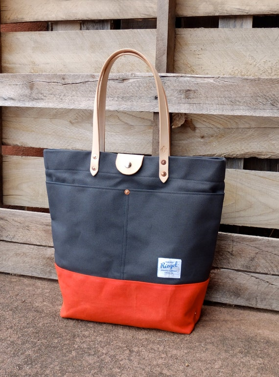 Waxed Canvas Tote Bag with Leather Handles and Snap Closure