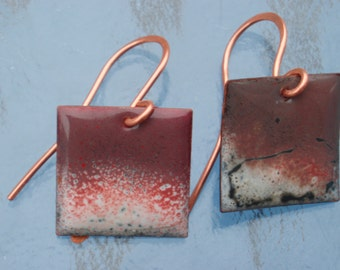 "ENAMEL EARRINGS RED and White Squares. 1-3/4"" x 1"""