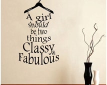 Coco Chanel Quote- A Girl Should Be Two Things Classy and Fabulous (dress shape) Wall Decal