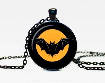 Halloween bat necklace Trick or Treat Halloween Pendant Halloween  jewelry black orange brown