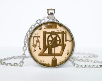 Steampunk Victorian Clock necklace Steampunk pendant watch jewelry beige black brown