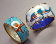 Glossy Fired Opal Enamel Ring on Copper, with Dolphin Miniature Paintings.