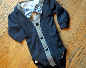 Navy blue and grey Cardigan bowtie bodysuit onesie with blue checkered bowtie and navy buttons...now available long or short sleeve