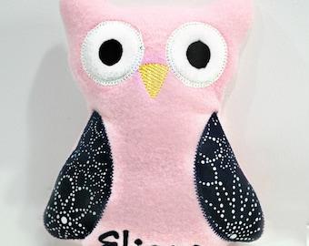 Pink Navy Baby Gift Crinkle Rattle Plush Owl Monogram