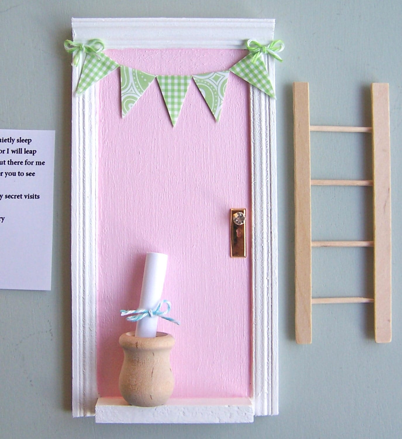 Magic tooth fairy door with little wooden pot perfect for a for Lil fairy door sale
