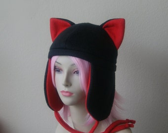 Fleece Cat Hat / BLACK + RED Aviator Style with Ear Flaps and Ties Cute Anime Cosplay Cat Ears Kitty Ears Kawaii Japanese Fashion