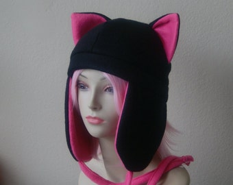 Fleece Cat Hat / BLACK + HOT PINK Aviator Style with Ear Flaps and Ties Cute Anime Cosplay Cat Ears Kitty Ears Kawaii Japanese Fashion
