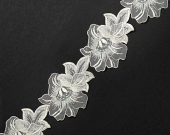 Pearl Beaded Flower Ribbon Lace Trim, Bridal Lace, 4 Inch by 1 Yard, White, ROI-75100