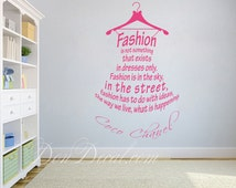 Bedroom Wall Art Sticker Vinyl Decal - Living Room Wall Art Decal - Coco Chanel Quote - Fashion - Dress Word Collage Vinyl Decor