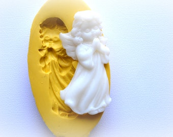 0860 Child  Angel in Gown Praying Silicone Rubber Flexible Food Safe Mold Mould- fondant, resin, clay, candy, chocolate, wax, soap