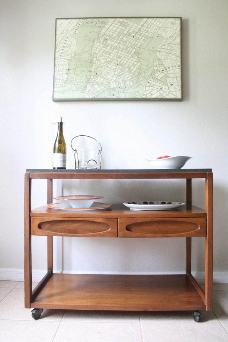 mid century server bar cart walnut rolling bar cart. Black Bedroom Furniture Sets. Home Design Ideas