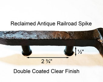 """2 3/4"""" Right Sealed Railroad Spike Cupboard Handle Dresser Drawer Pull Cabinet Knob Antique Vintage Old Rustic Re-purposed House Restoration"""