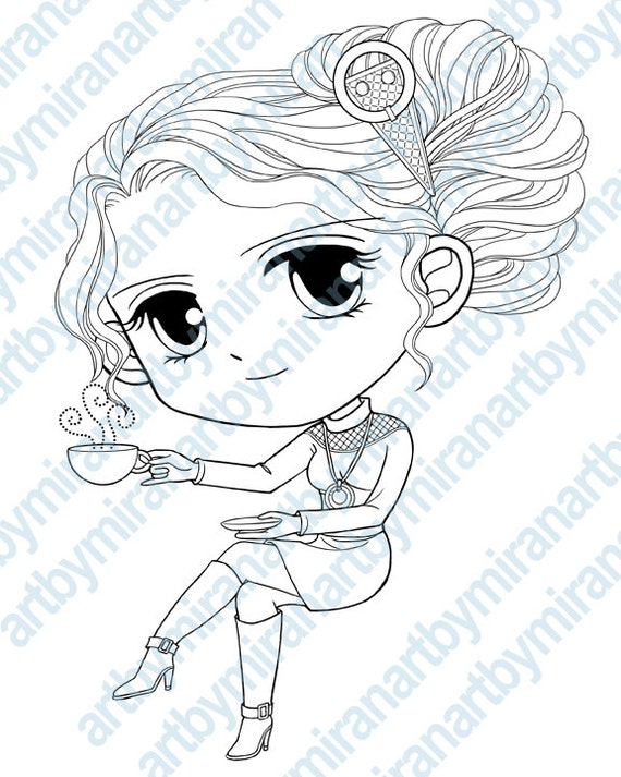 Coffee time digital stamps big eyed girl coloring by for Big girl coloring pages