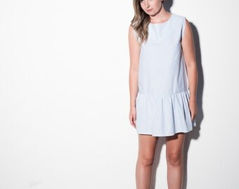 HOW SOON is NOW dress [drop waisted pale blue and white striped dress]