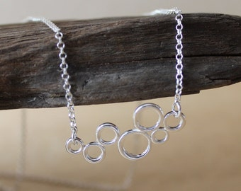 Molecule necklace / sterling silver delicate necklace / urban chic / minimalist jewelry