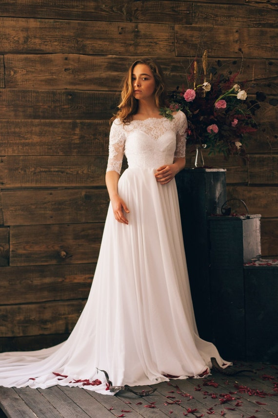 Offwhite Vintage Inspired Wedding Dress With Open Back Lace - Td Wedding Dresses