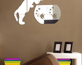 decorative wall mirrors, modern wall decor cat and fishbowl,  unique mirror Shatterproof