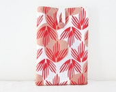 Ipad mini case, orange peach palm leaf hand printed fabric padded tablet sleeve cover ,, handmade in the UK