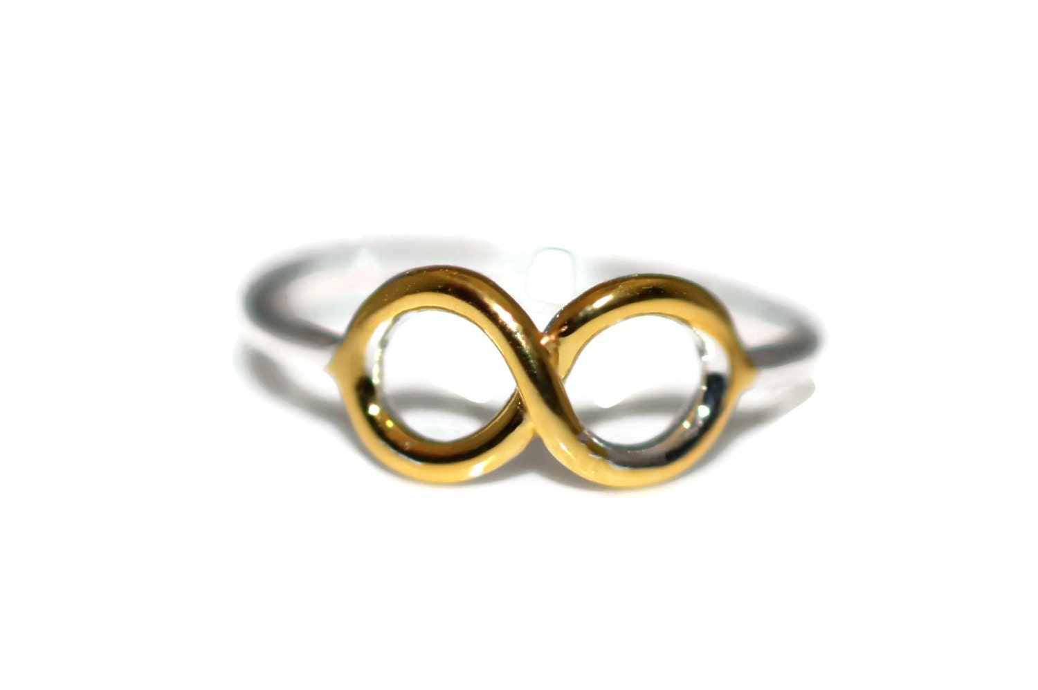 size 5 yellow gold silver infinity ring sterling silver