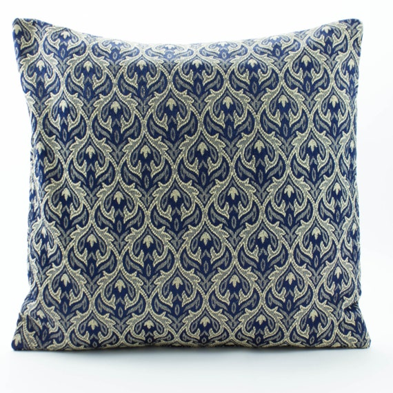 Jacquard Throw Pillows : Jacquard throw Pillow Cover 26 x 26 inch euro sham,Cotton Silk Pillow in Blue/ Beige Pillow ...