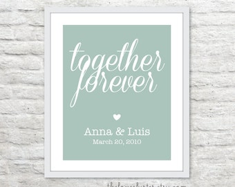 Together Forever Personalized Wedding Print - Custom Wedding Poster - Newlyweds Anniversary Personalized Poster - Seafoam Sage Green