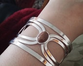 Silver Modern Art Nouveau Cuff Bangle Bracelet with Rhodonite Stone