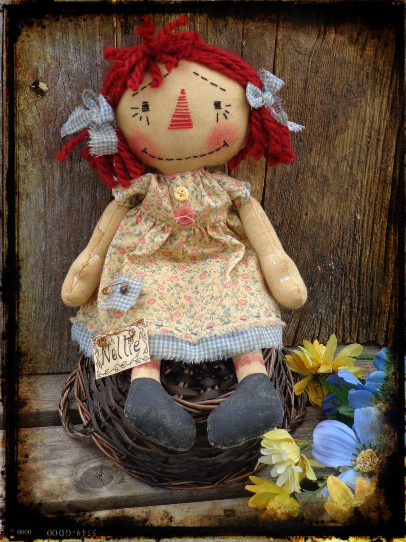 Handmade Primitive Raggedy Ann Doll Country Doll Rag Doll