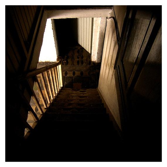 Halloween decor, fine art photography, Creepy staircase, Home decor, Spooky, Wall art, 5x5, 8x8, square photo, brown