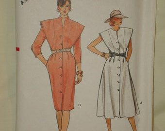 1980s 80s Vintage Front Button Dress with Flared or Slim Skirt in 2 Views UNCUT Vogue Pattern 8912 Bust 31.5 to 34 Inches 80 to 87 Metric