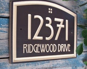 "14.5"" x 10"" Arts & Crafts Home Address Engraved Plaque, Housewarming Gift, Realtor Gift, Address Sign, House Number, Carved wood sign"