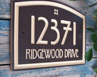 "14.5"" x 10"" Arts & Crafts Home Address Engraved Plaque, Housewarming Gift, Realtor Gift, Address Sign, House Number, Carved wood sign"