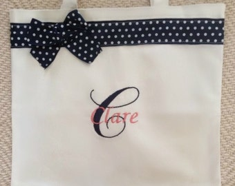 Coral Navy Polka Dot Monogrammed Dance Bag Personalized With Any Name